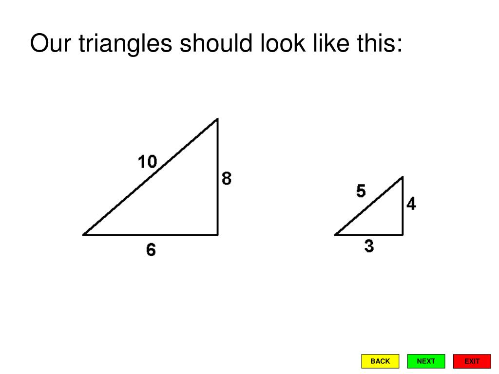 Our triangles should look like this: