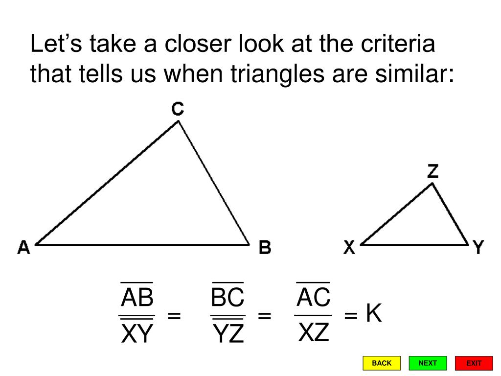 Let's take a closer look at the criteria that tells us when triangles are similar: