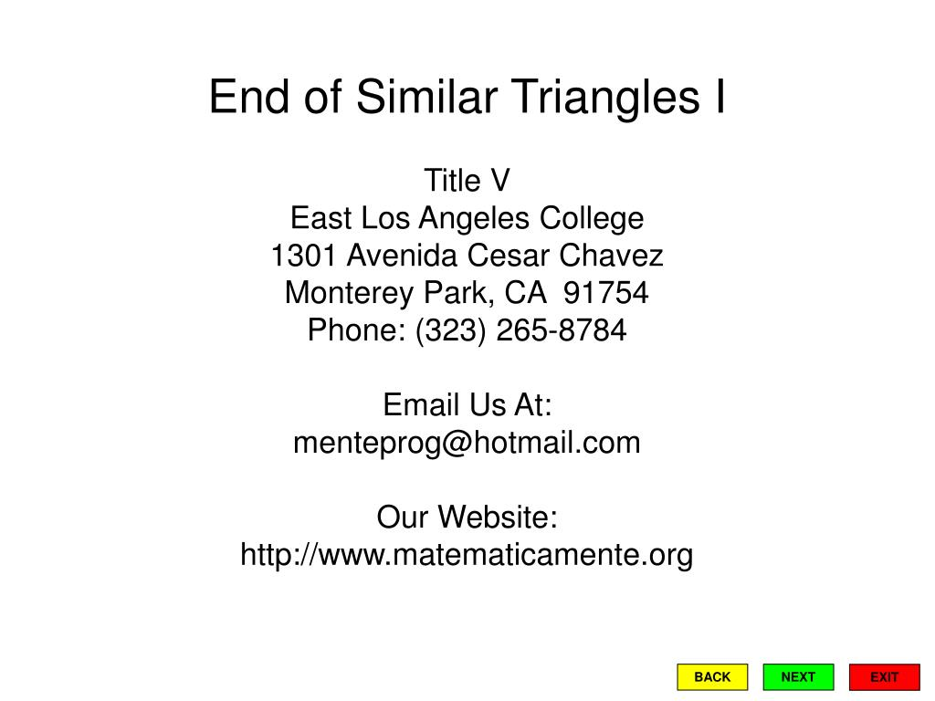 End of Similar Triangles I