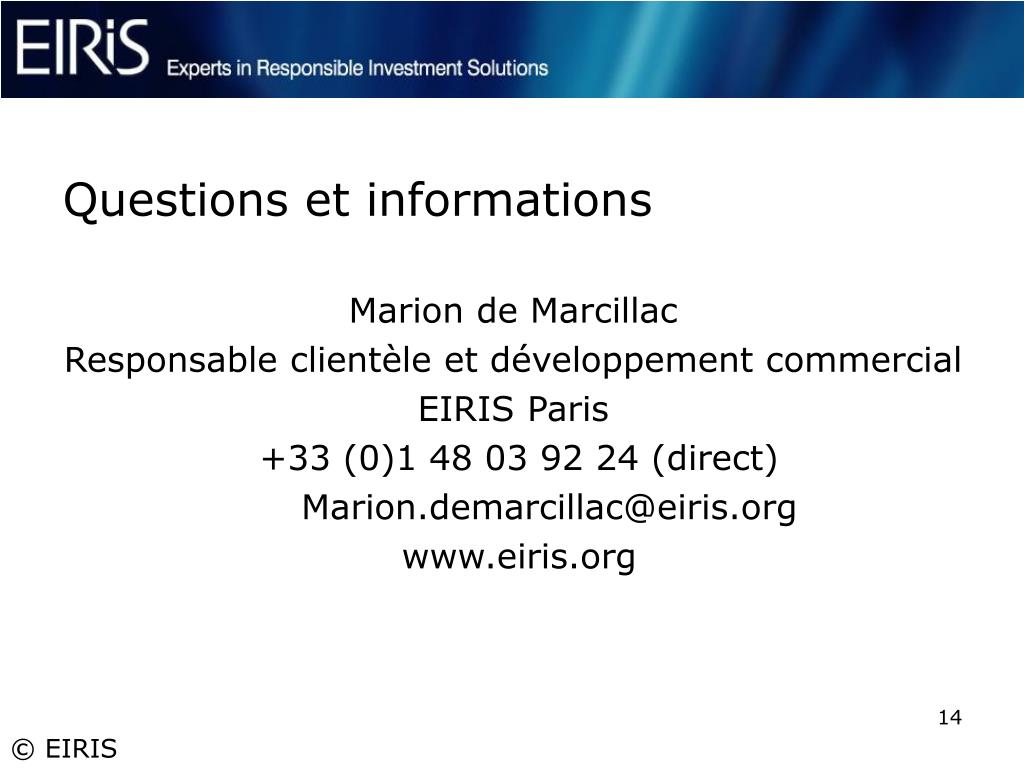 Questions et informations