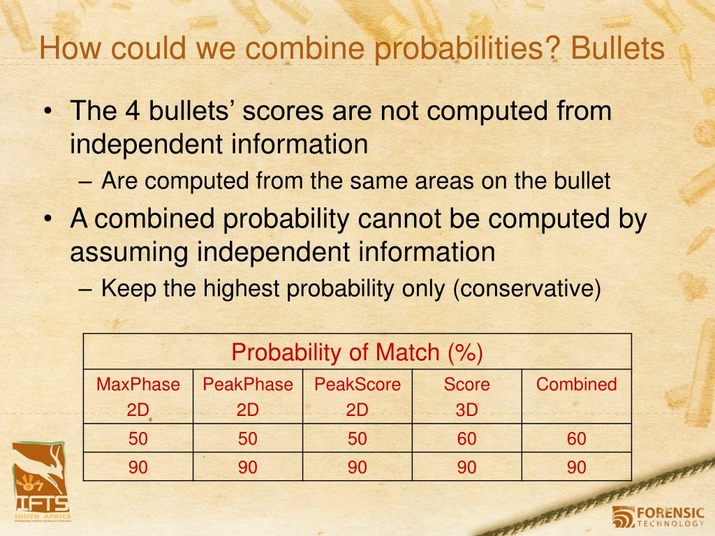 How could we combine probabilities? Bullets