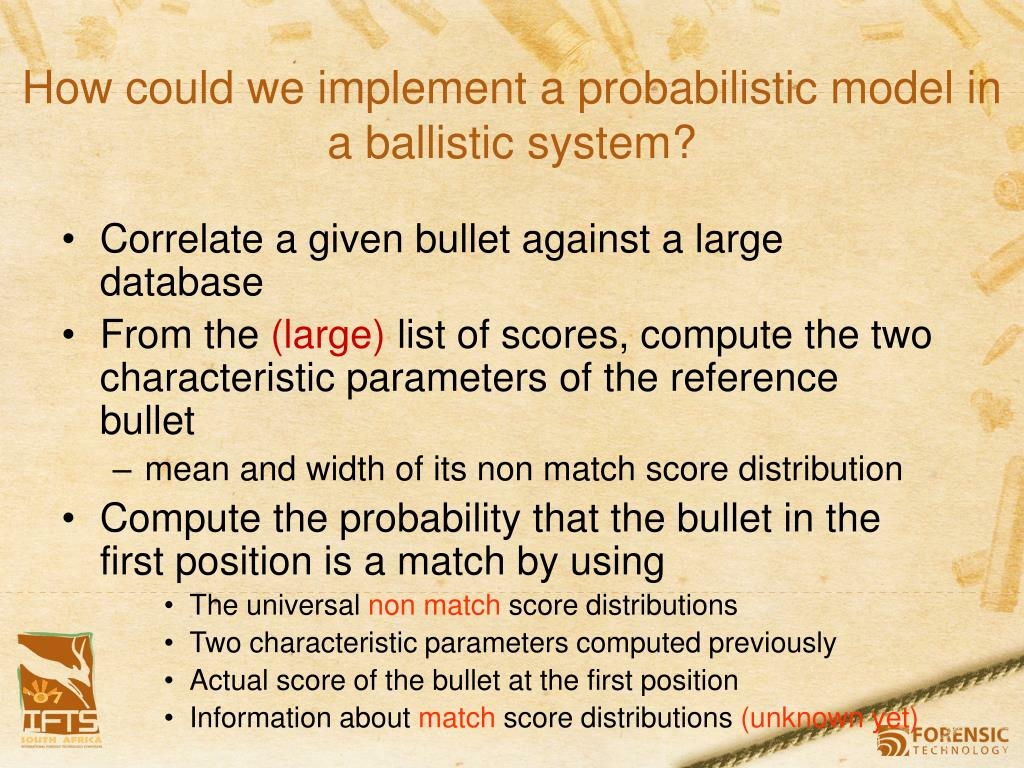 How could we implement a probabilistic model in a ballistic system?