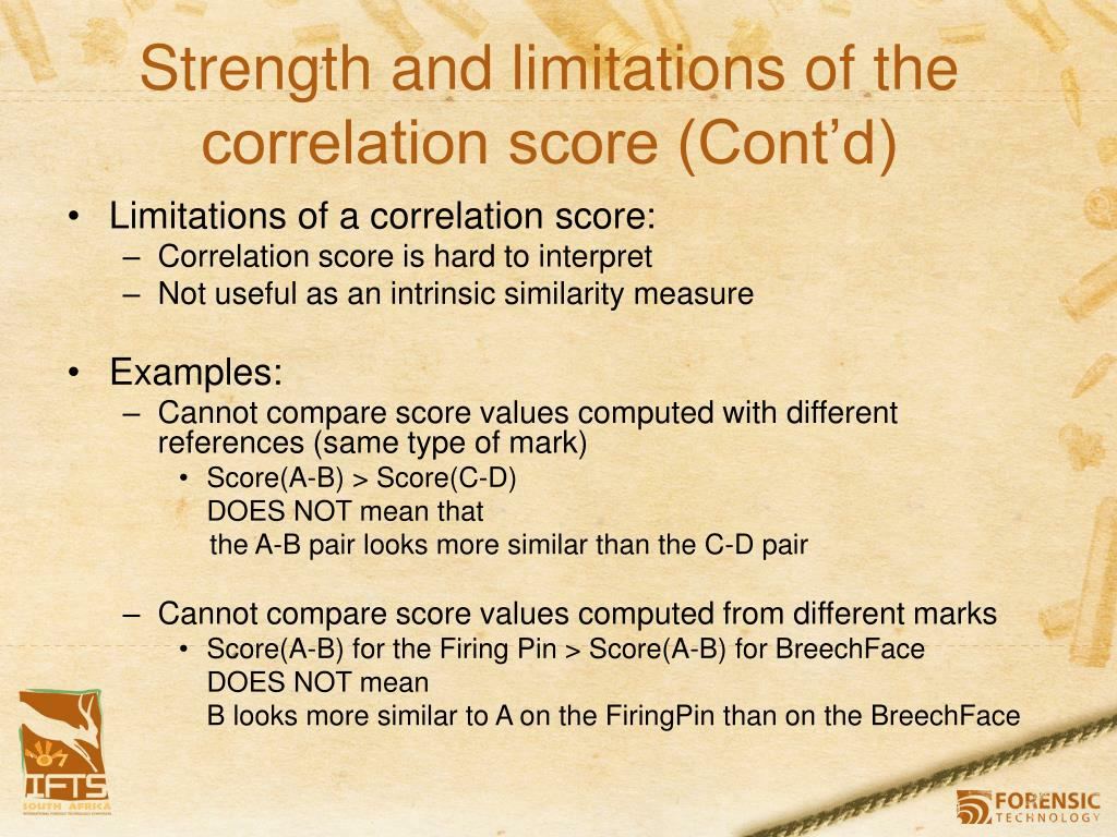 Strength and limitations of the correlation score (Cont'd)