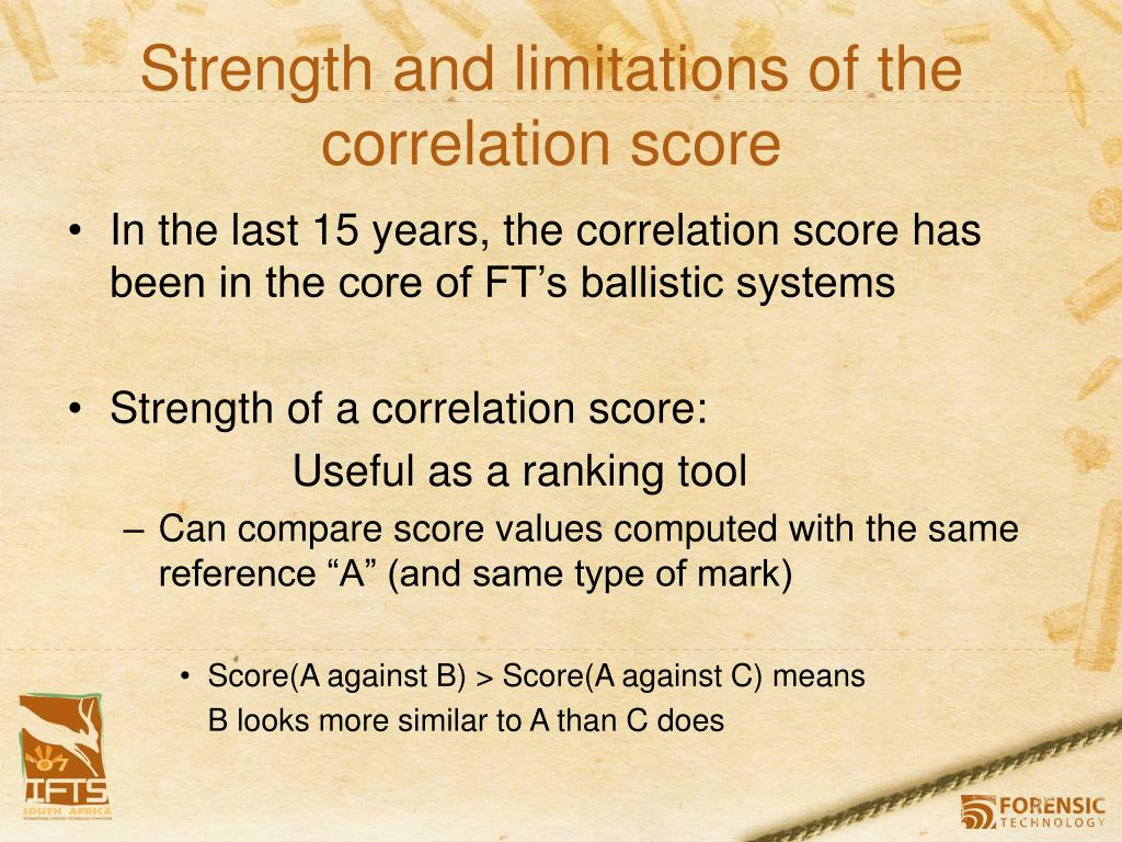 Strength and limitations of the correlation score