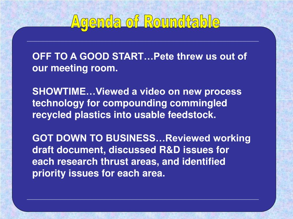 Agenda of Roundtable