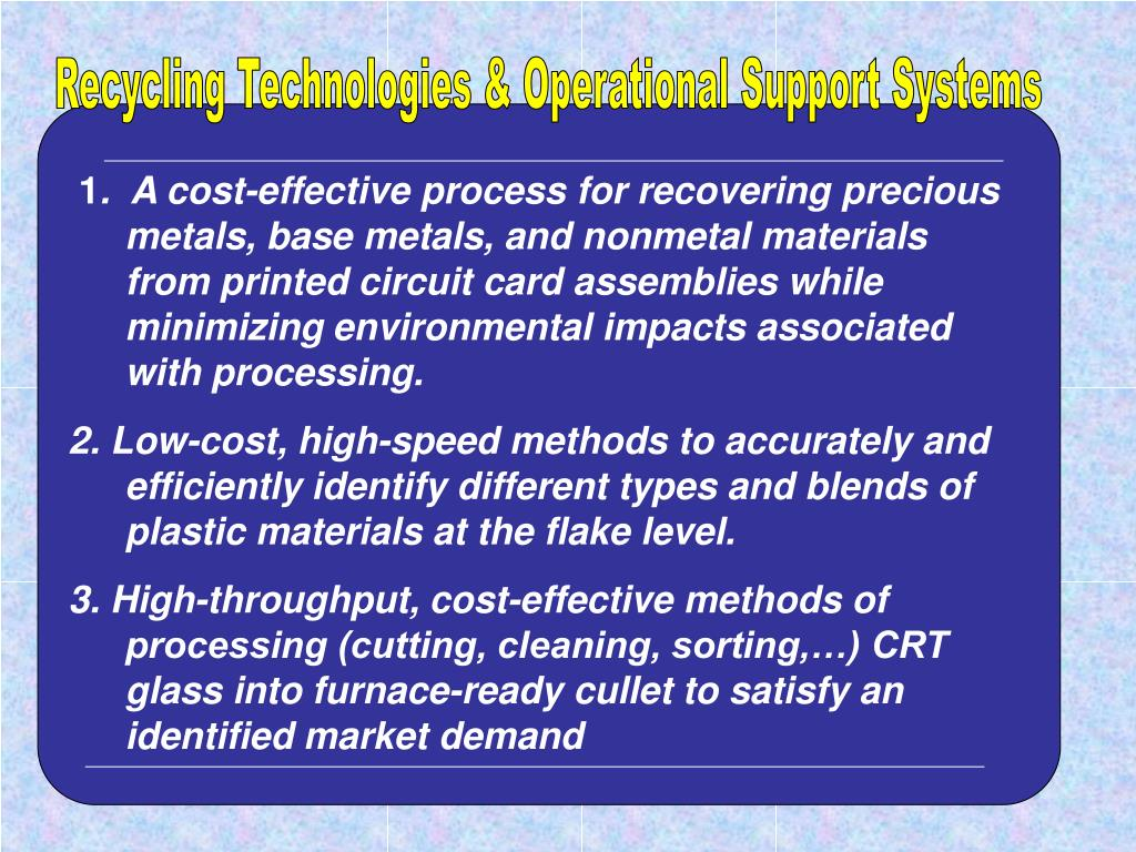 Recycling Technologies & Operational Support Systems