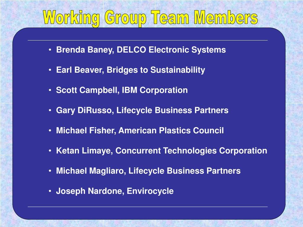 Working Group Team Members