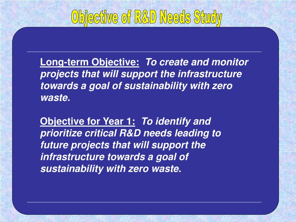 Objective of R&D Needs Study