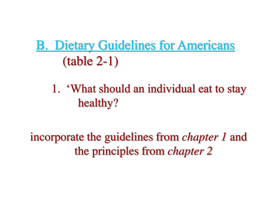 B.  Dietary Guidelines for Americans