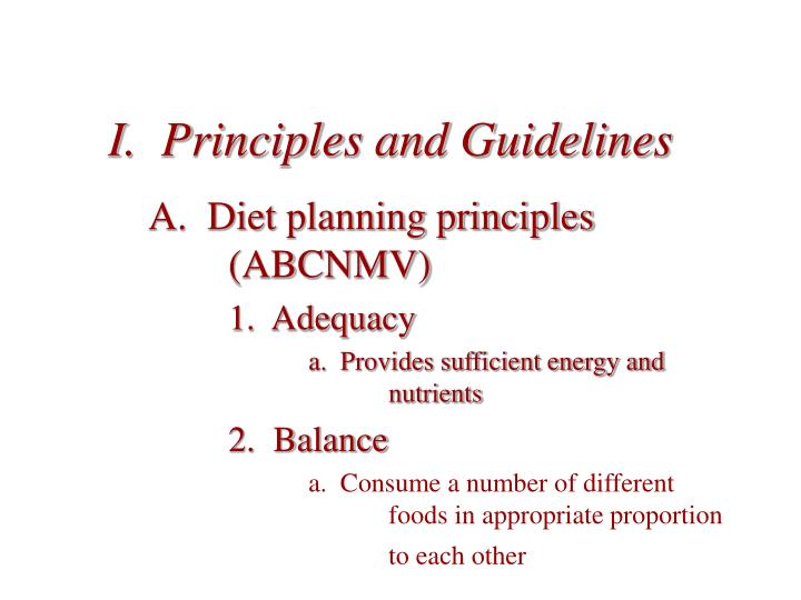 I principles and guidelines