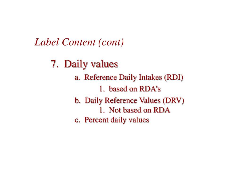 Label Content (cont)