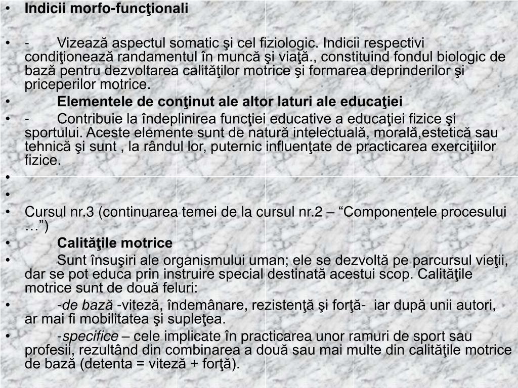 Indicii morfo-funcţionali