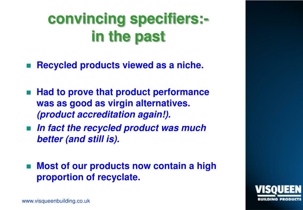 convincing specifiers:-