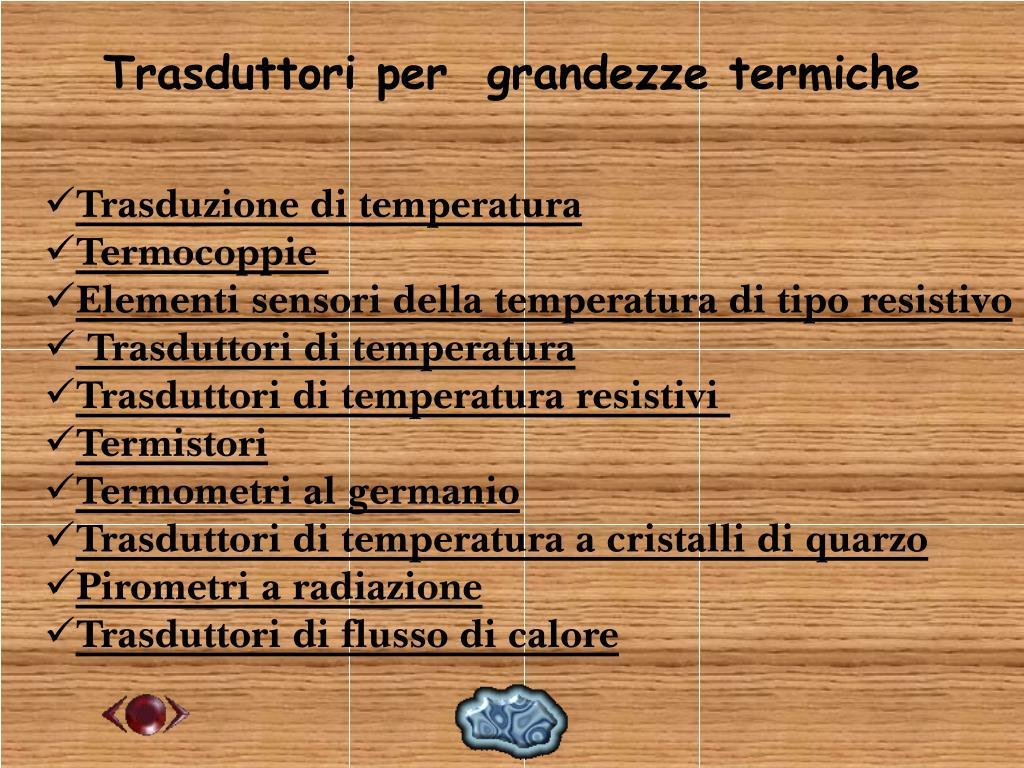 Trasduttori per  grandezze termiche