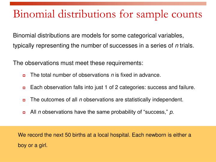 Binomial distributions for sample counts