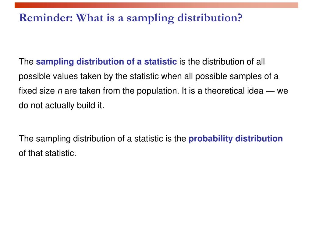 Reminder: What is a sampling distribution?