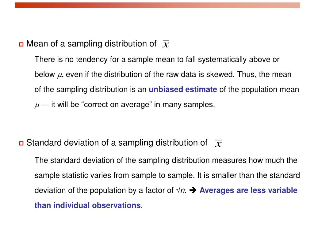 Mean of a sampling distribution of