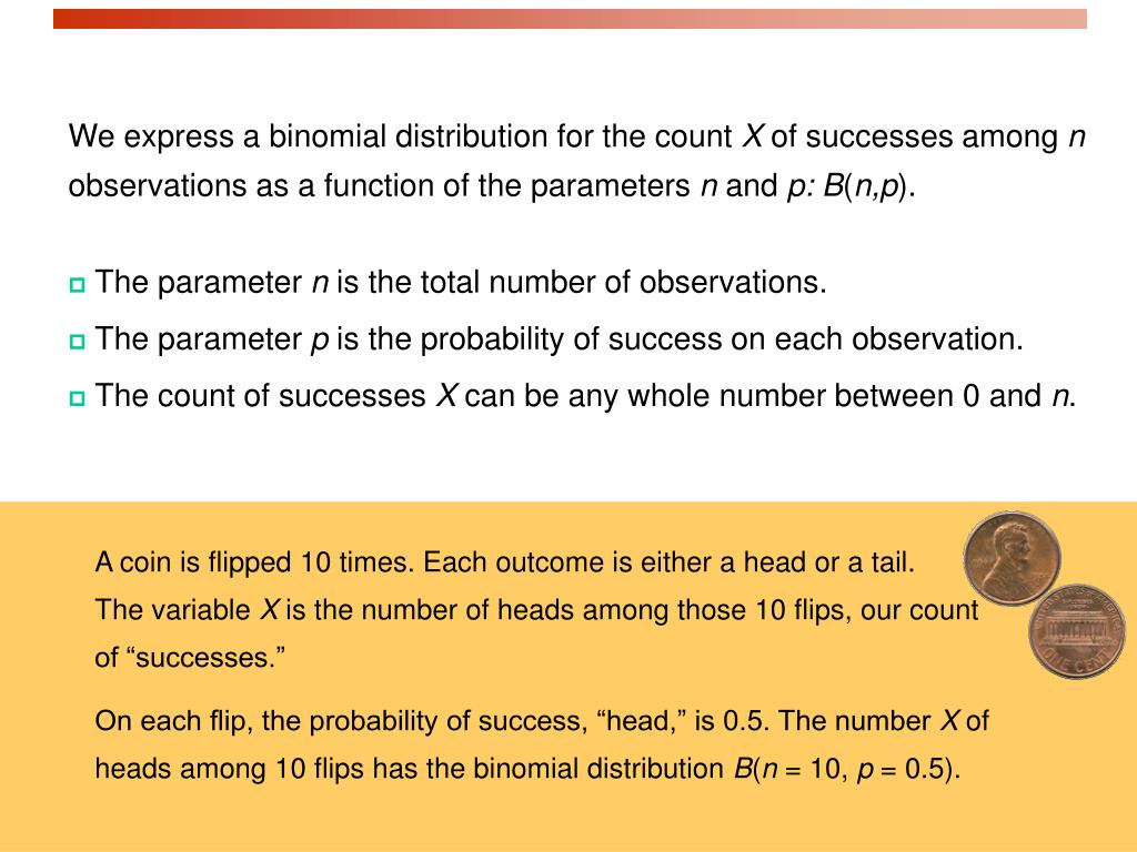 We express a binomial distribution for the count