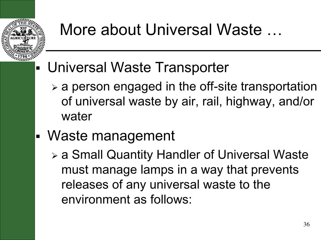 More about Universal Waste …