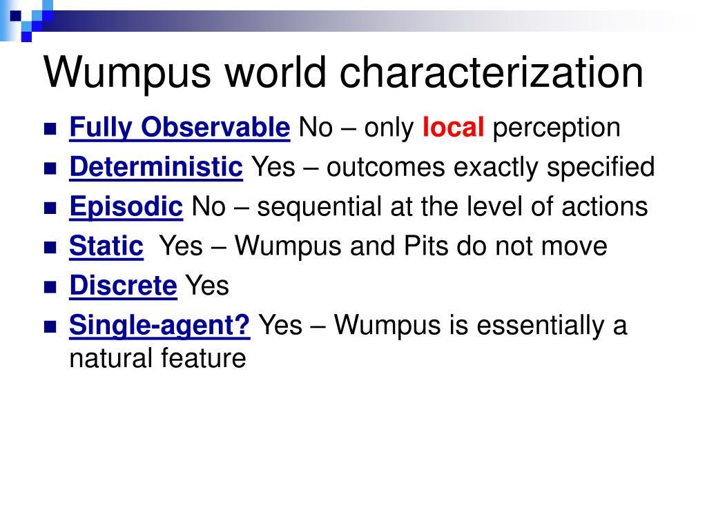 Wumpus world characterization