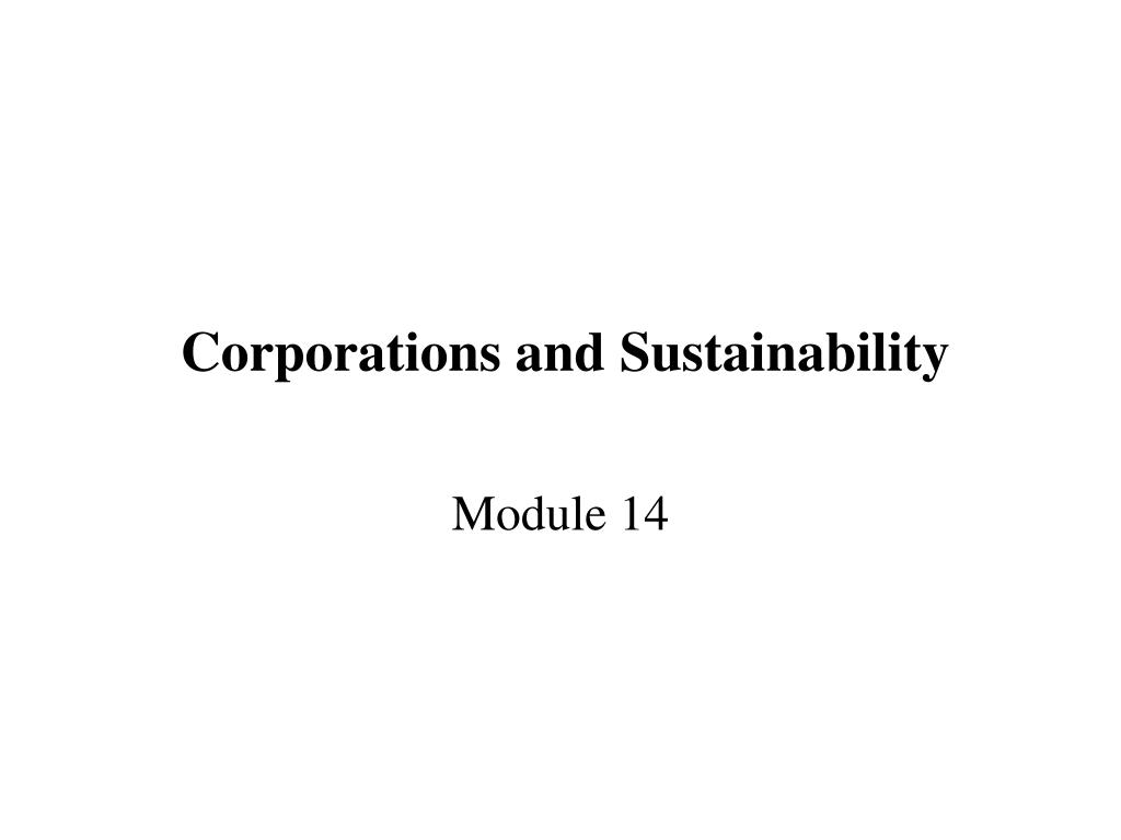 Corporations and Sustainability