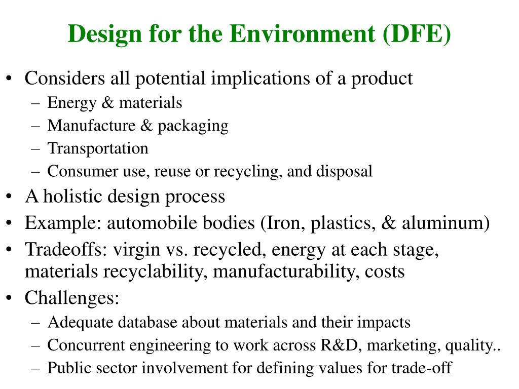 Design for the Environment (DFE)