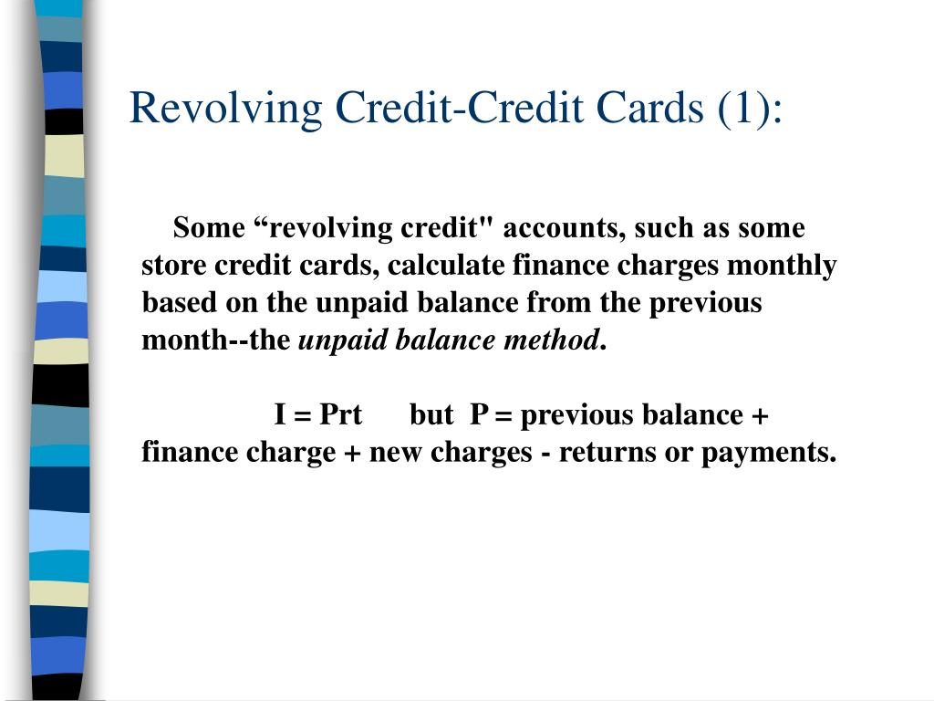 Revolving Credit-Credit Cards (1):
