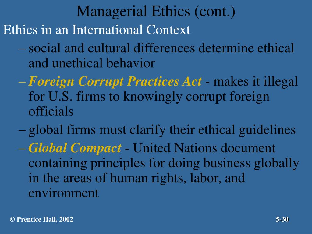 Managerial Ethics (cont.)