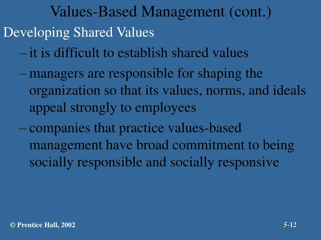 Values-Based Management (cont.)