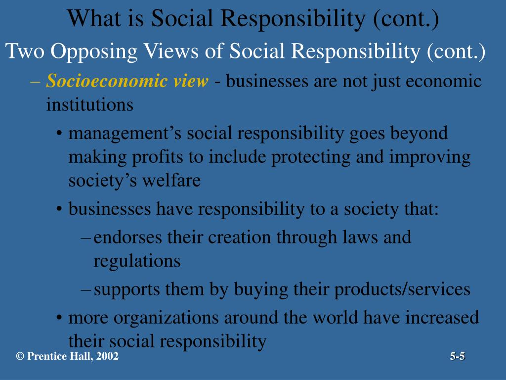 Two Opposing Views of Social Responsibility (cont.)