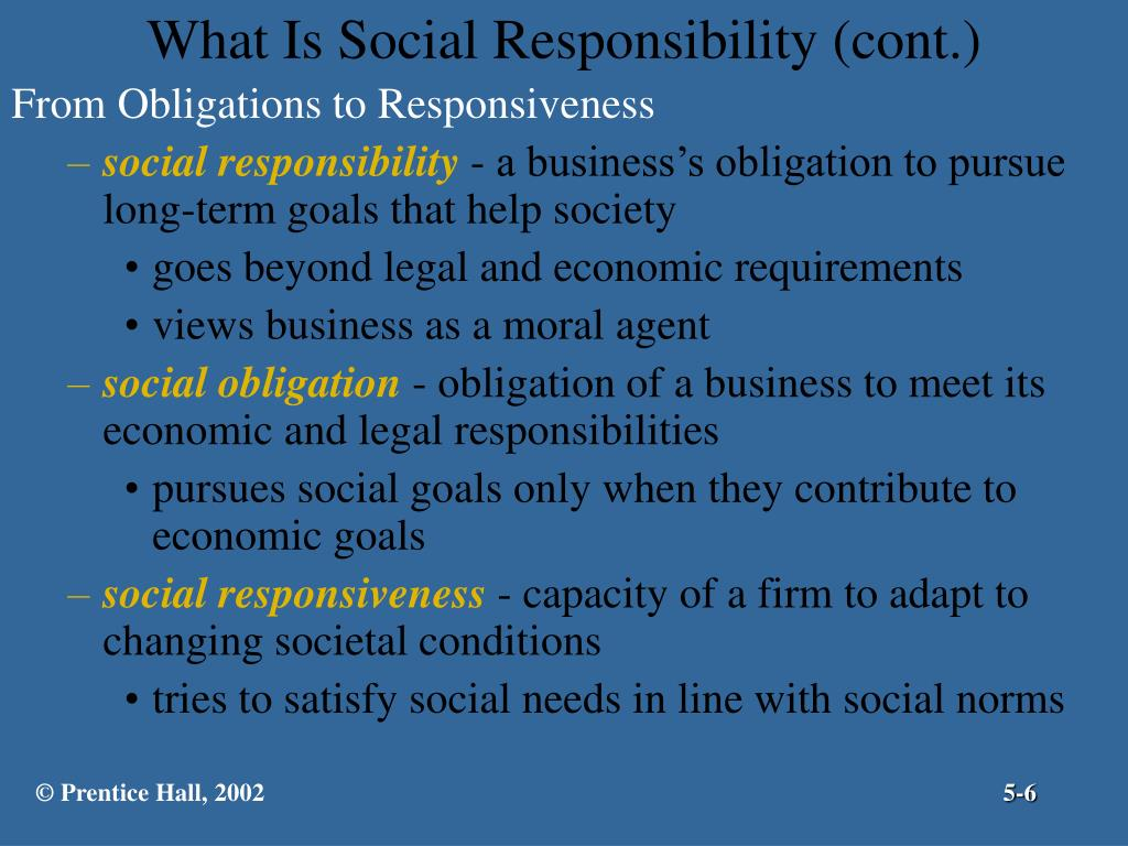 What Is Social Responsibility (cont.)