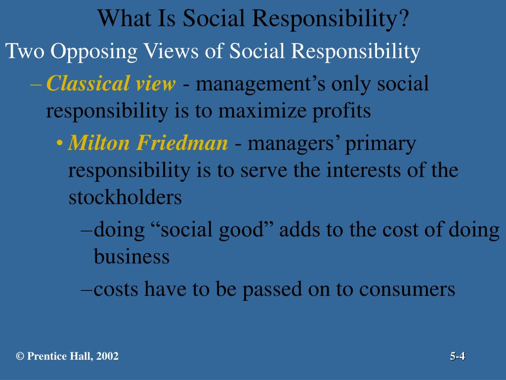 Two Opposing Views of Social Responsibility