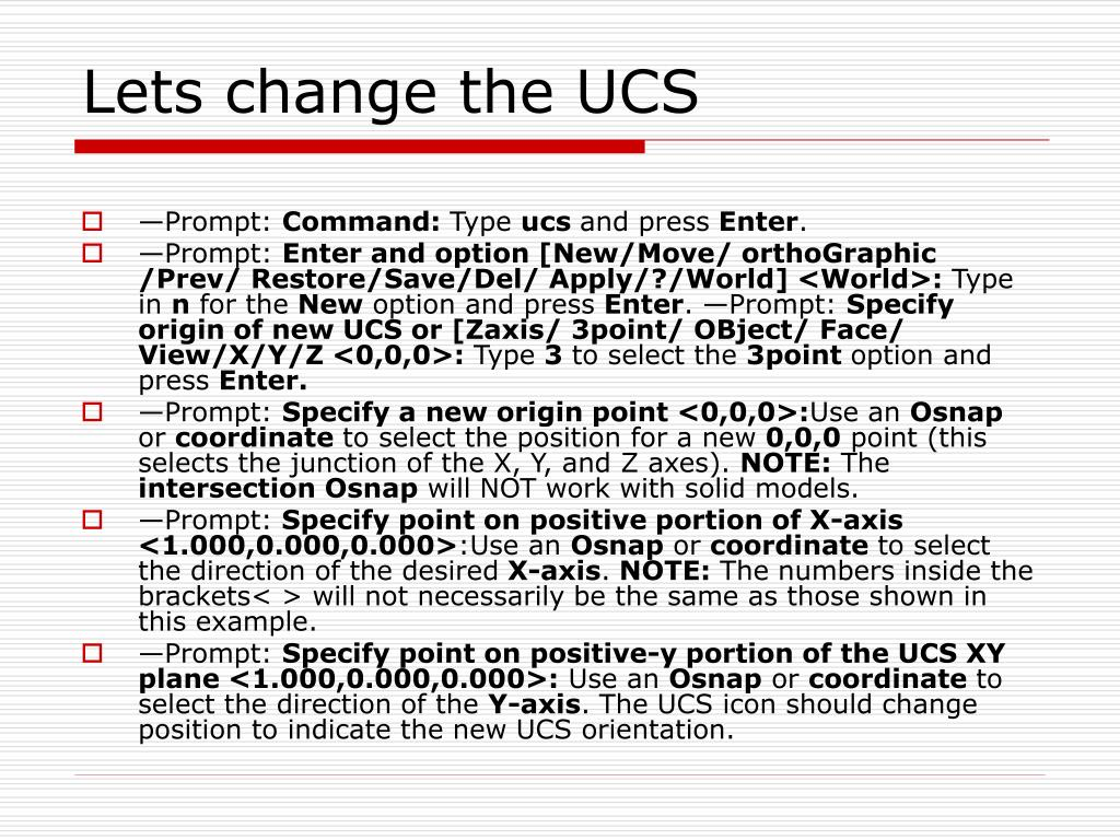 Lets change the UCS