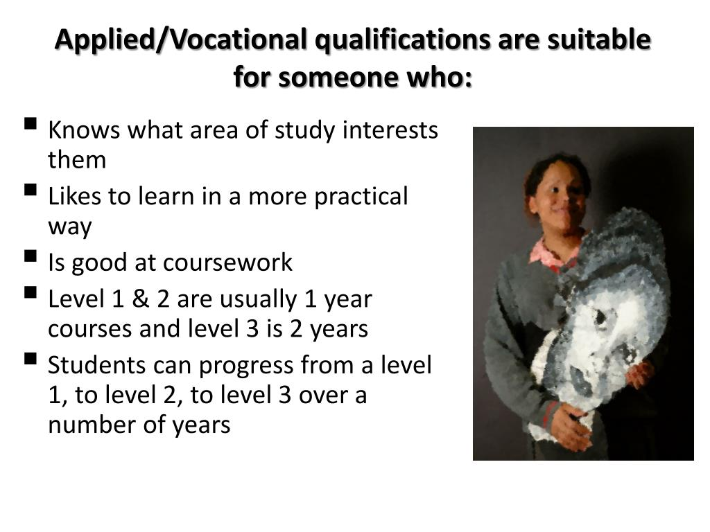 Applied/Vocational qualifications are suitable for someone who: