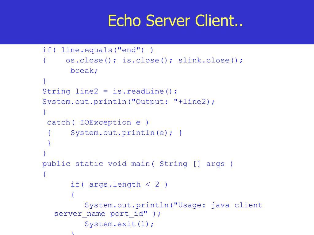 Echo Server Client..