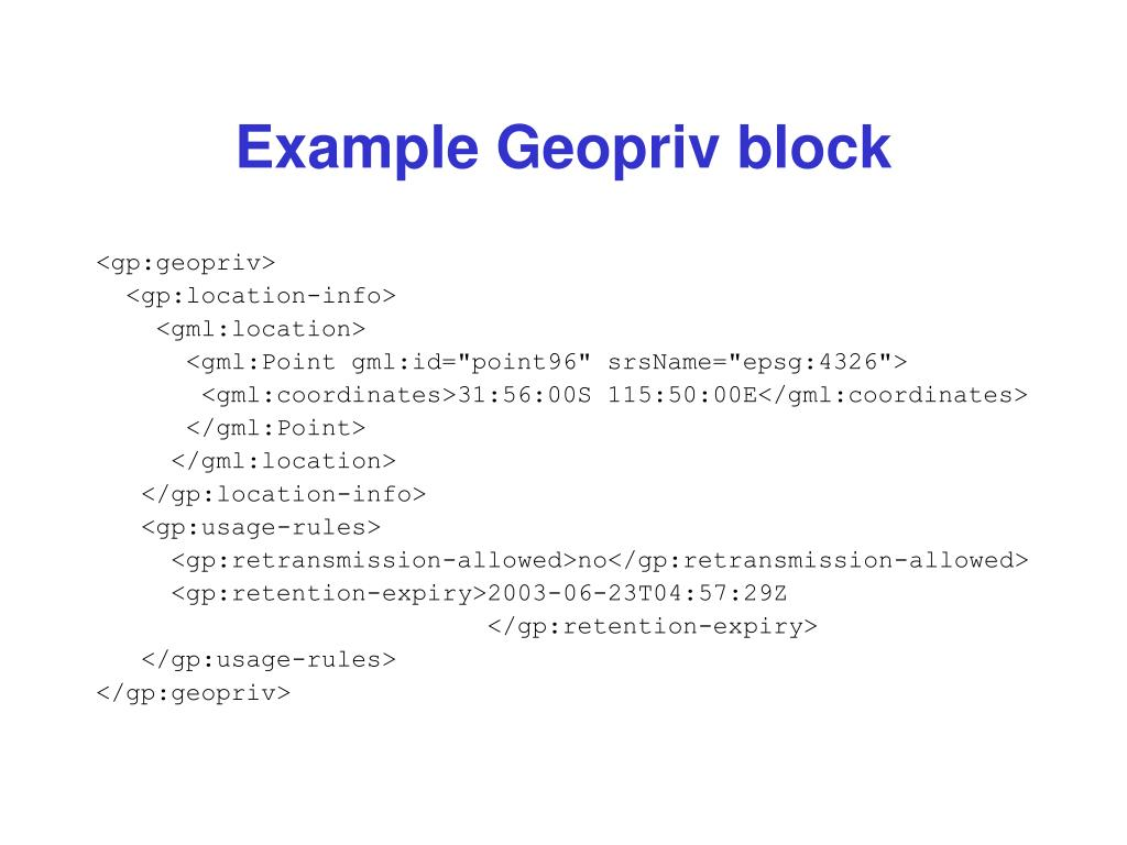 Example Geopriv block