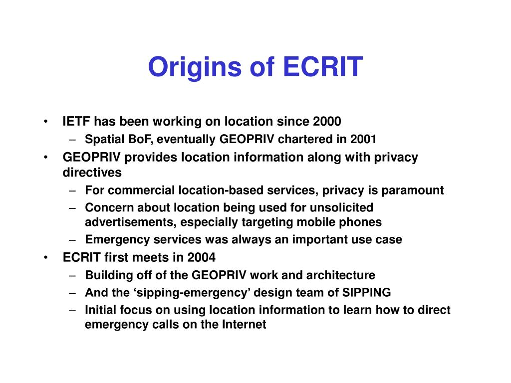 Origins of ECRIT