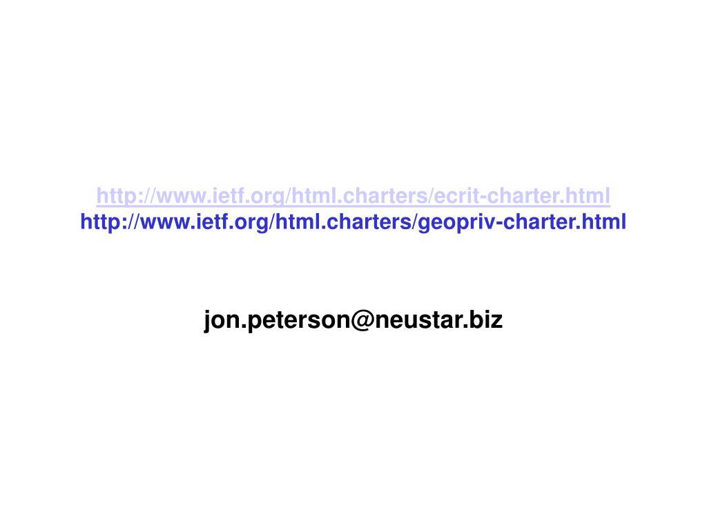 http://www.ietf.org/html.charters/ecrit-charter.html