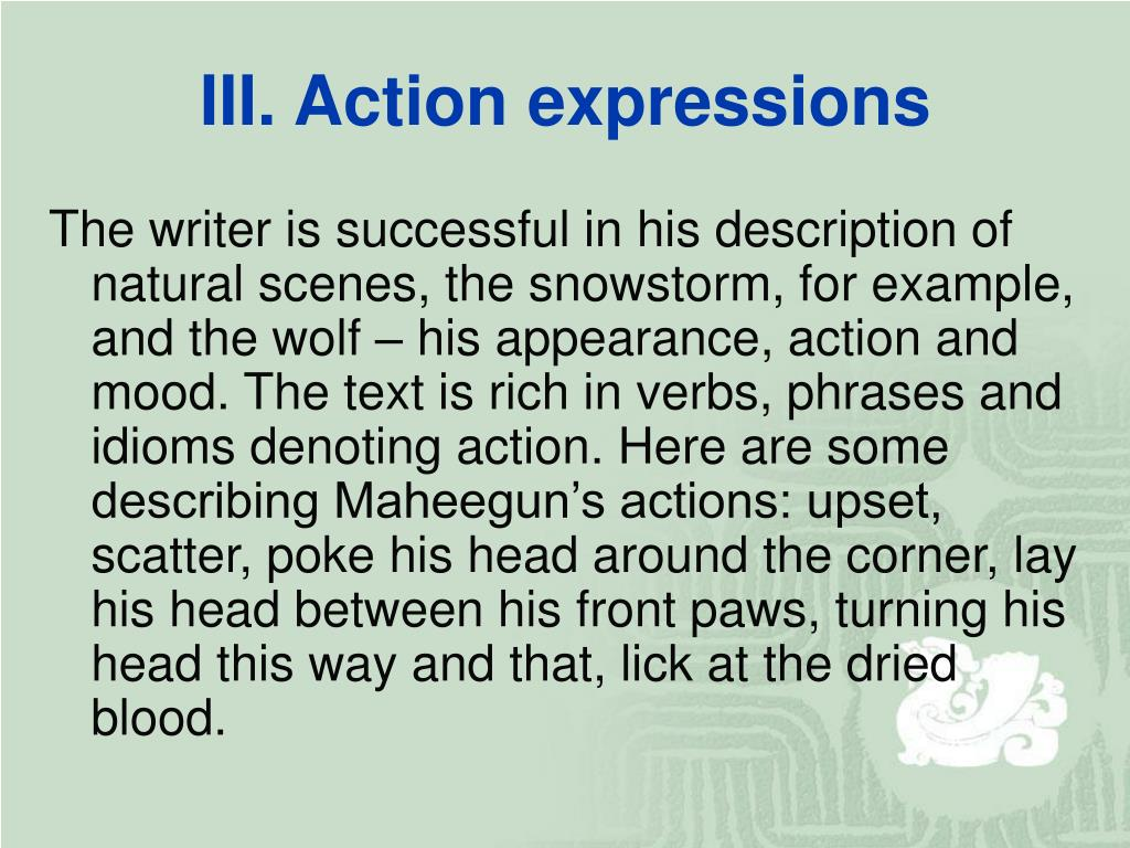 III. Action expressions