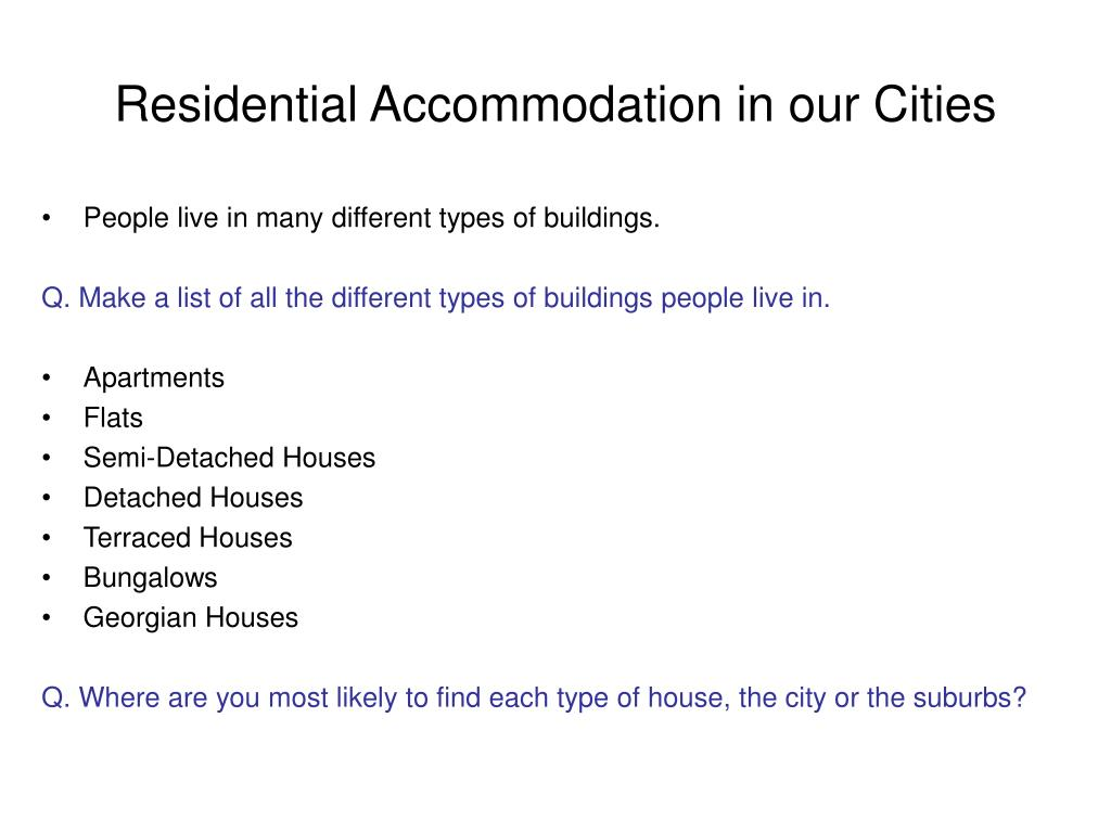 Residential Accommodation in our Cities