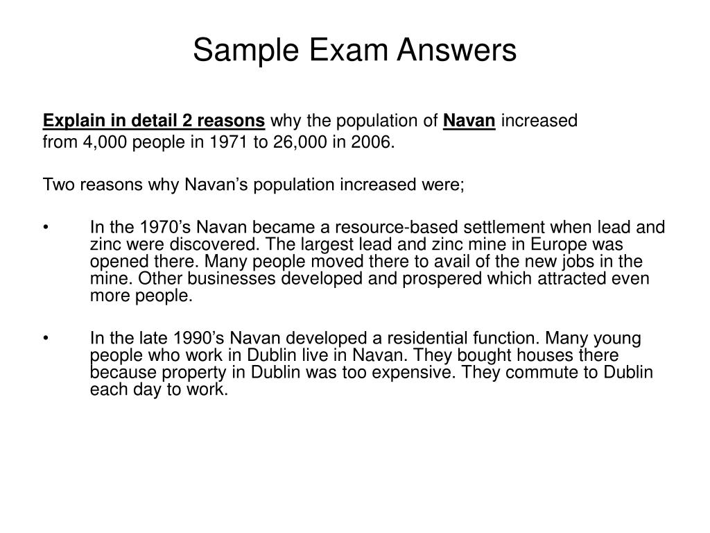 Sample Exam Answers