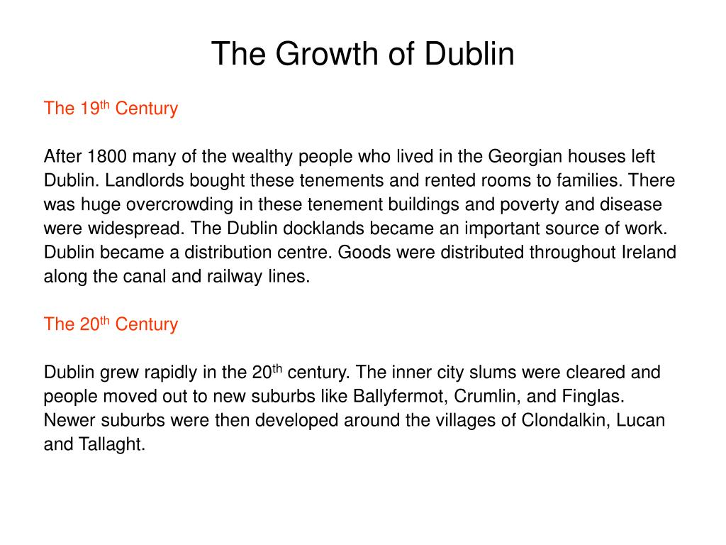 The Growth of Dublin