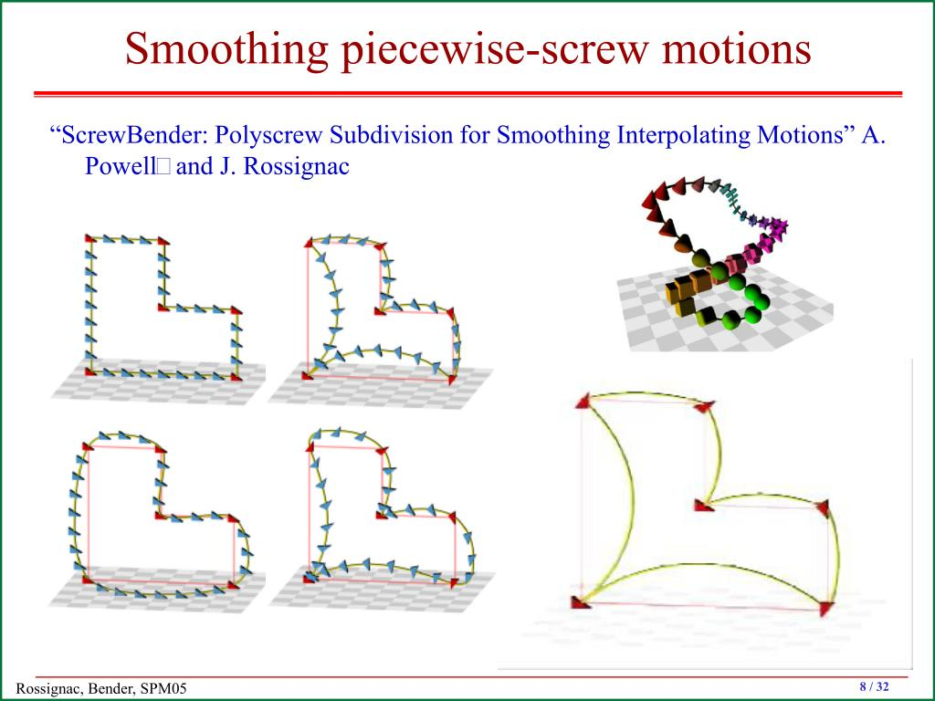 Smoothing piecewise-screw motions