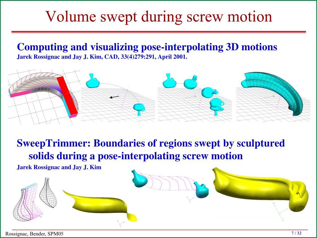 Volume swept during screw motion