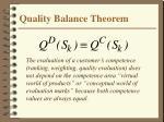 quality balance theorem