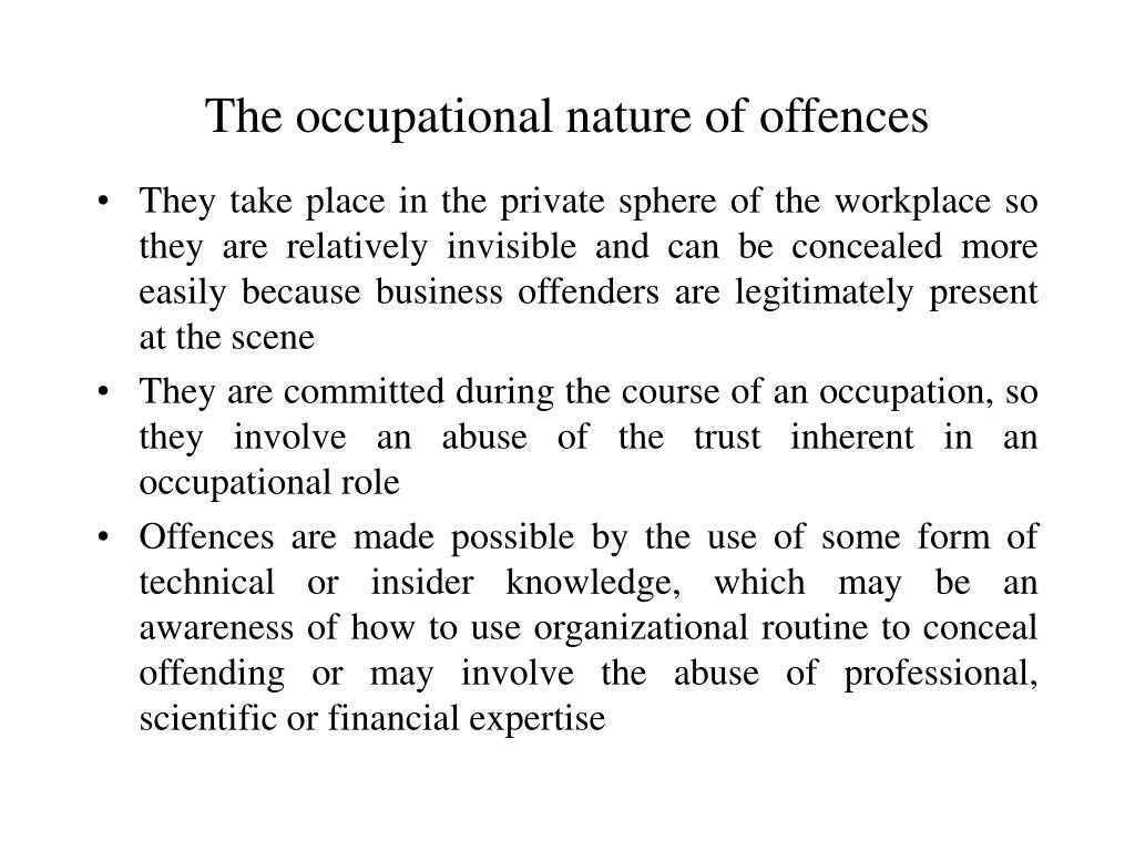 The occupational nature of offences