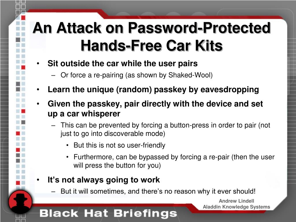 An Attack on Password-Protected Hands-Free Car Kits