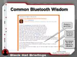 common bluetooth wisdom