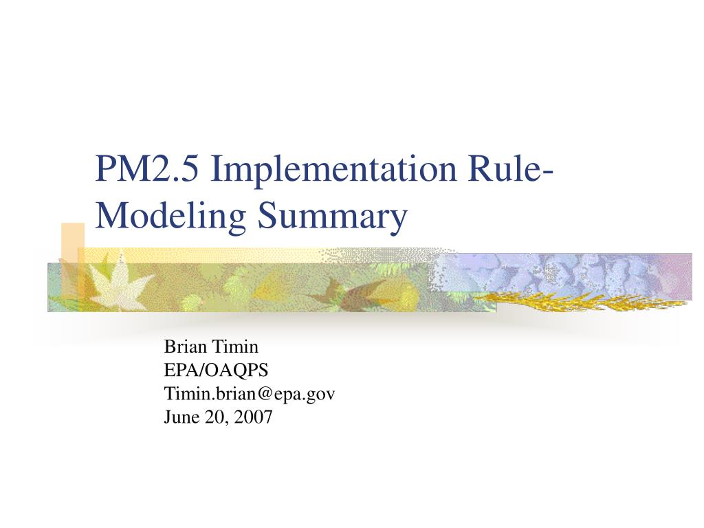 pm2 5 implementation rule modeling summary
