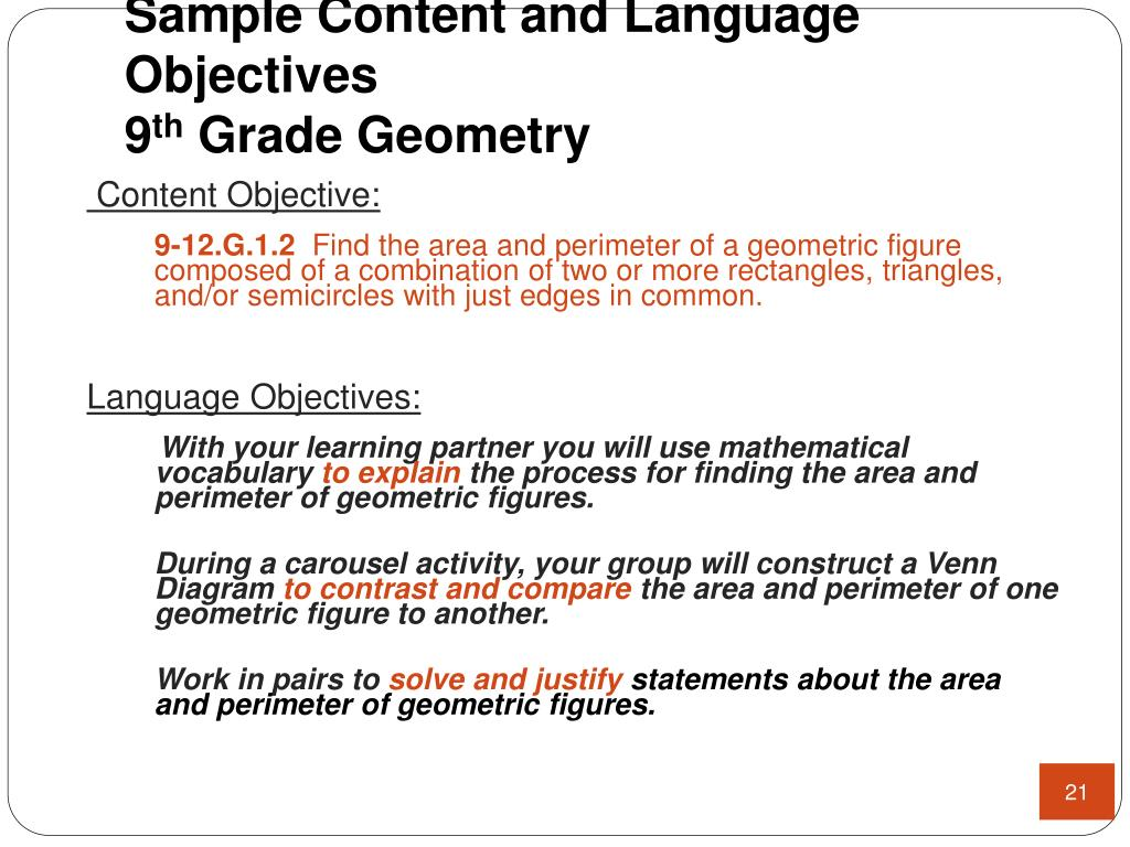 Sample Content and Language Objectives